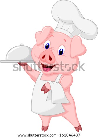 Happy Pig Chef Holding A Platter  - stock vector