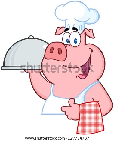 Happy Pig Chef Holding A Platter Sign - stock vector