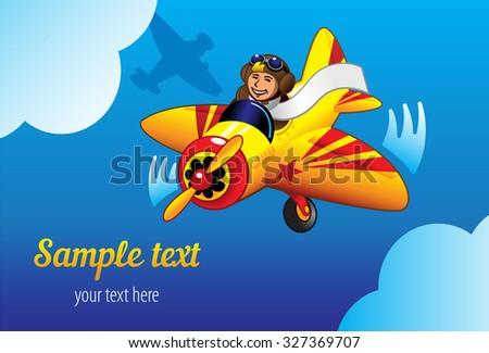 Happy pilot flying plane. Vector illustration. - stock vector