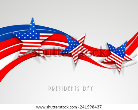 Happy Presidents Day celebration with United State of American flag color waves and stars on shiny grey background. - stock vector