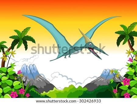 Happy pterodactyl cartoon flying - stock vector
