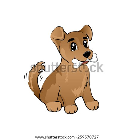 happy puppy with a bone waves a tail - stock vector