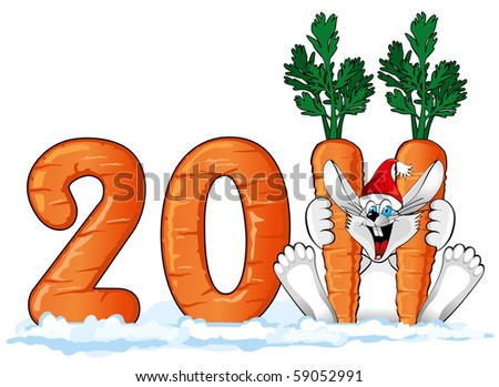 Happy Rabbit in Santa hat with a large carrot (symbol of the new year 2011 ) - stock vector