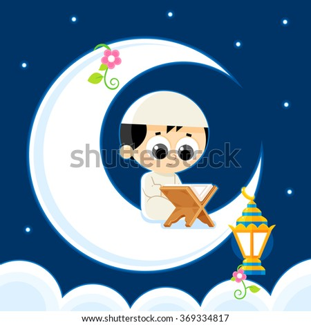 Happy Ramadan _ Child Reading Quran (Quran is the holy book of Islam)  - stock vector