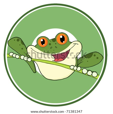 Happy Red Eyed Blue Tree Frog In Circle Banner - stock vector