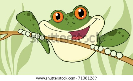 Happy Red Eyed Green Tree Frog In Jungle - stock vector