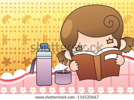 Happy Relaxing Time : reading a book with a lovely cute young girl and hot drink in her room on a bright yellow background : vector illustration - stock vector