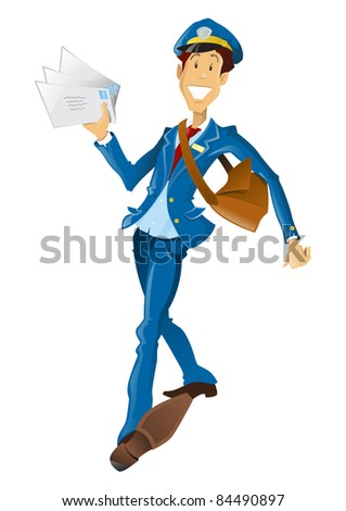 Happy retro style Post Man delivering mail. - stock vector