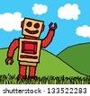 Happy robot enjoying nature - stock vector