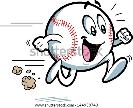 Happy Running Baseball with Big Smile - stock vector