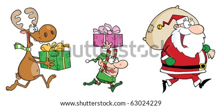 Happy's Santa Claus,Elf and Reindeer Runs With Gifts - stock vector