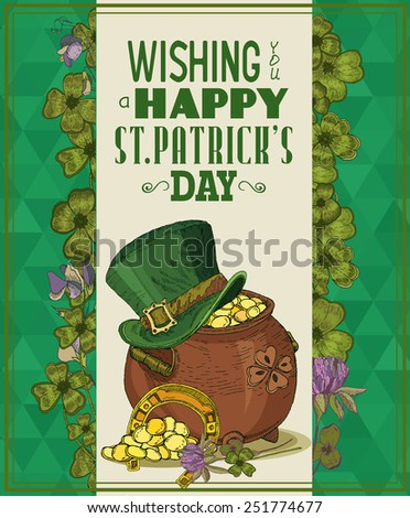 Happy Saint Patrick's Day Party Poster - Vintage typography style background. Sketch. Doodle design. - stock vector