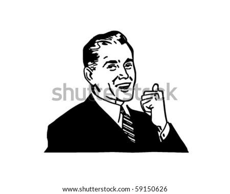 Happy Sales Guy - Retro Clip Art - stock vector