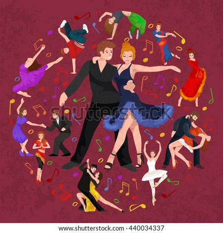 Happy Salsa dancers couple isolated on white icon pictogram, man and woman in dress dancing salsa with passion, people dancing ballroom vector illustration, young girl dancer salsa to the music - stock vector