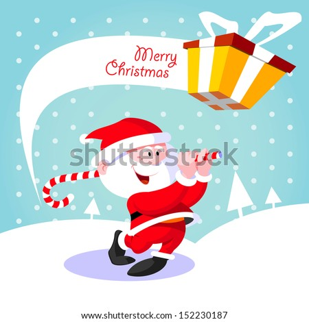 Happy Santa Claus. Creative Christmas card. Santa Claus golfer playing golf candy - stock vector