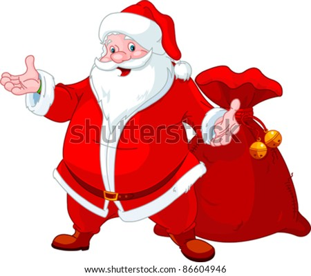 Happy Santa Claus with sack of gifts - stock vector