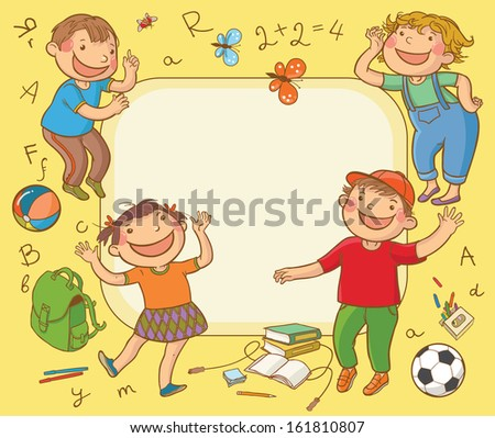 Happy School Children Card. Back to School and Sport isolated objects on yellow background. Great illustration for a school books and more. VECTOR. Editorial. Education. Advertising. Board. - stock vector