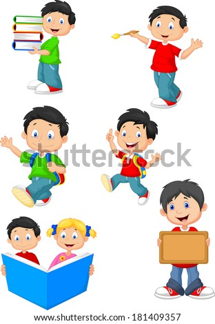 Happy school children cartoon collection set - stock vector