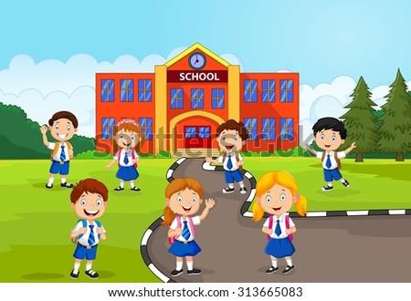 Happy school children in front of the school  - stock vector
