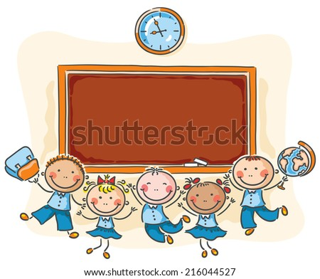 Happy schoolkids with a blackboard with a copy space - stock vector
