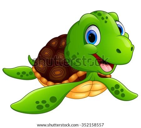 Happy sea turtle cartoon - stock vector