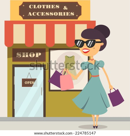 Happy shopping woman. Female character. Vector illustration - stock vector