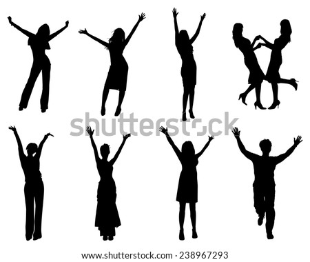 Happy silhouettes. EPS 10 format. - stock vector