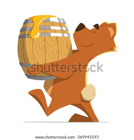 Happy smile cute brown bear holding and carrying a wood old barrel with a sweet honey. Isolated on white background. Color vector illustration. - stock vector