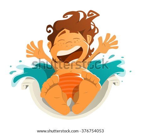 Happy smile kid child boy in aquapark water park. Ride on water slide. Character color vector illustration. Isolated on white background. - stock vector