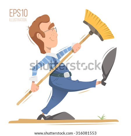 Happy smile man cleaner worker holding broom. Professional cleaning service illustration. Isolated bright color vector character. - stock vector