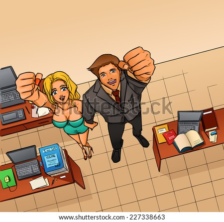 Happy smiling business man and woman expressing success and winning, confidence and advance. They hold hand making fist above head. Office room with workplaces. Vector cartoon drawing. - stock vector