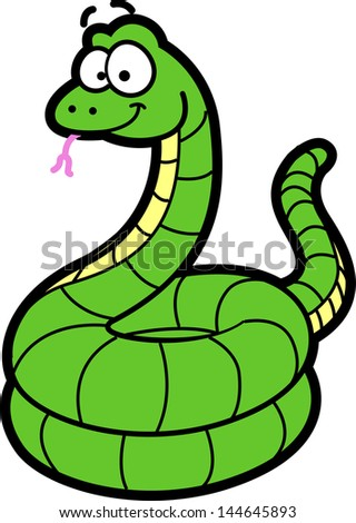 Happy Smiling Cartoon Snake - stock vector