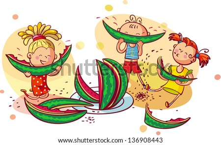 Happy smiling children eating watermelon - stock vector