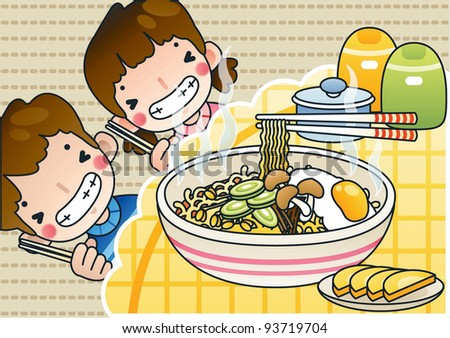 Happy Smiling Cute Young Boy and Lovely Girl with Tasty Spicy Ramen in a snack bar on a background of brown pattern - stock vector