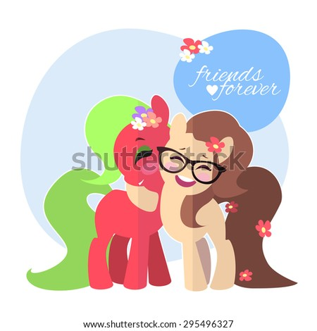 Happy smiling embracing pony.  Funny Smiling ponies enjoying a friend hugging. Happy Friendship Day poster. Cute doodle with friends forever. Vector. Girlish glance. Friendly concept, cartoon. - stock vector