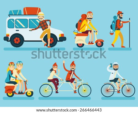 Happy Smiling Man Geek Hipster Character Car Traveler Backpack Schooter Bike Icon Travel Lifestyle Vacation Tourism and Journey Symbol Background Flat Design Template Vector Illustration - stock vector