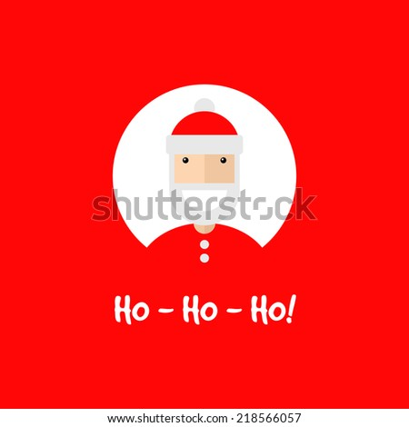 Happy smiling Santa Claus character, invitation card. Flat design, vector illustration - stock vector