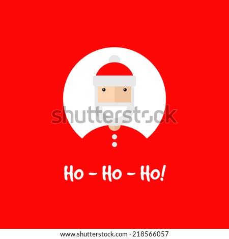 Happy smiling Santa Claus character, invitation card. Flat design, vector illustration - stock vector