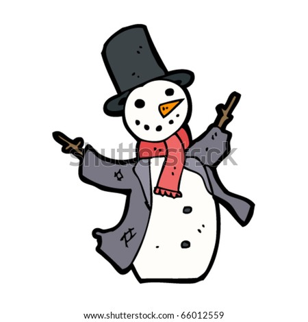 happy snowman cartoon - stock vector