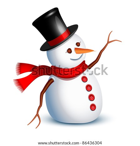 Happy snowman greeting with an arm - stock vector