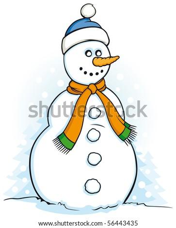 Happy snowman illustration on white background - stock vector