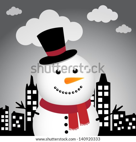 Happy Snowman in the city - stock vector