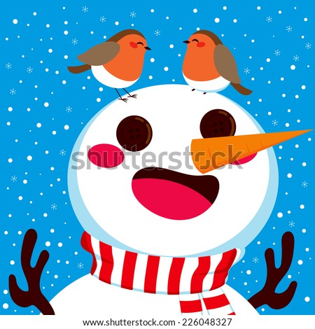 Happy snowman with his two robin birds friends together on his head on winter snowfall background - stock vector