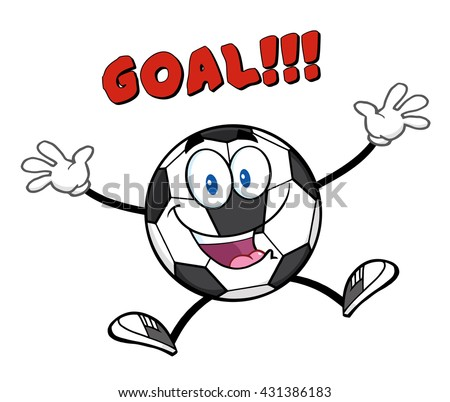 Happy Soccer Ball Cartoon Mascot Character Jumping With Text Goal. Vector Illustration Isolated On White Background - stock vector