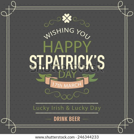 Happy St. Patrick's Day celebration poster or banner design on chalk board background. - stock vector