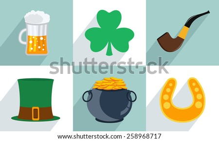 Happy St. Patrick's Day celebration set with beer, clover leaf, smoking pipe, leprechauns hat,  earthenware and horseshoe. - stock vector