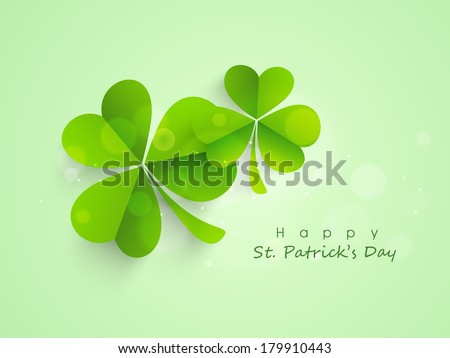 Happy St. Patrick's Day celebrations concept with Irish lucky shamrock leaves on green background. - stock vector