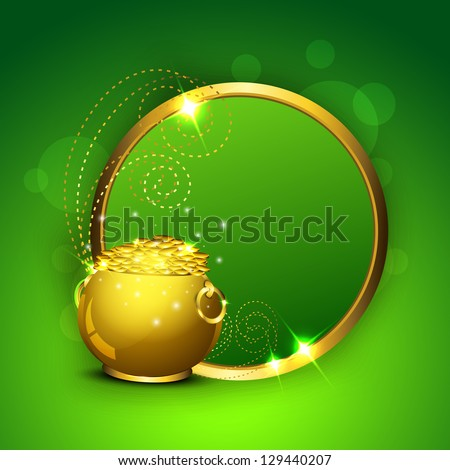 Happy St. Patrick's Day greeting card or background with golden coins pot and glossy blank banner background. EPS 10. - stock vector
