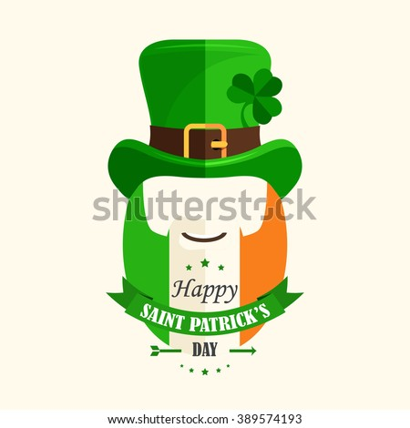 Happy St. Patrick's Day! Isolated vector cartoon character Irishman in green hat with shamrocks, beard painted in color flag of Ireland, smile, lettering green ribbon in flat style on beige background - stock vector