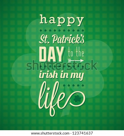 Happy St. Patrick's Day Message - stock vector